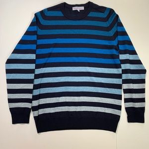 Orlebar Brown Blue and Black Ombre Striped Sweater